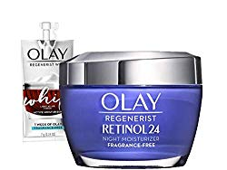 Olay Regenerist Retinol Moisturizer, Retinol 24 Night Face Cream, 1.7oz + 1 Week Of Whip Face Moisturizer Travel/Trial Size