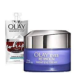 Olay Regenerist Retinol Eye Cream, Retinol 24 Night Eye Cream, 0.5oz + 1 Week Of Whip Face Moisturizer Travel/Trial Size